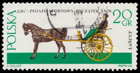 the coachman: POLAND - CIRCA 1965: a stamp printed in Poland shows old carriage - gig (XX century), circa 1965