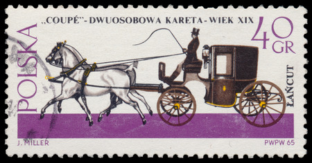 coachman: POLAND - CIRCA 1965: Stamp printed in Poland shows Horse-drawn Carriage from the series Horse-drawn Carriages, Lancut Museum, circa 1965 Editorial
