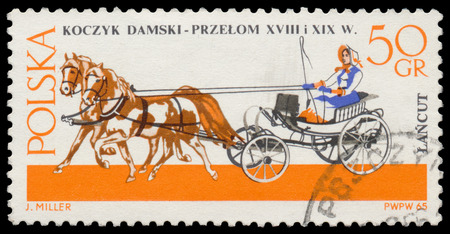chariot: POLAND - CIRCA 1965: Stamp printed in Poland shows old chariot - chaise (XVIII-XIX century), circa 1965