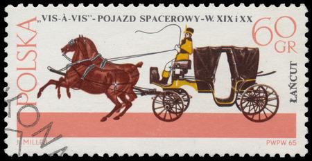 xx century: POLAND - CIRCA 1965: Stamp printed in Poland shows old carriage - Vis-A-Vis (XIX - XX century), circa 1965