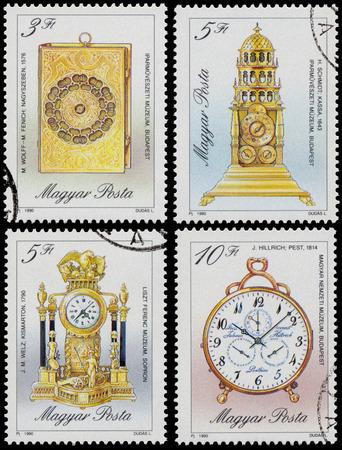 """orologi antichi: UNGHERIA - CIRCA 1990: francobolli stampati in Ungheria, mostra orologi, con la stessa scritta, da serie """"orologi antichi"""", circa 1990"""