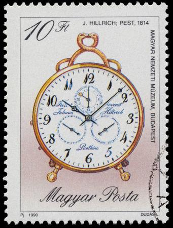 """orologi antichi: UNGHERIA - CIRCA 1990: timbro stampato in Ungheria, mostra orologio da J. Hillrich, 1814, con la stessa scritta, da serie """"orologi antichi"""", circa 1990"""