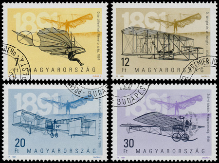 HUNGARY - CIRCA 1991: Set of Stamps printed in Hungary from the The 100th Anniversary of Airplanes issue shows aircrafts and heroes, circa 1991.