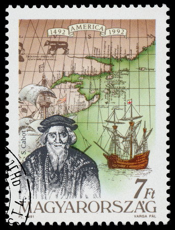 HUNGARY - CIRCA 1991: Stamp printed in Hungary from the  issue The 500th Anniversary of the Discovery of America showsS. Cabot, circa 1991. Editorial