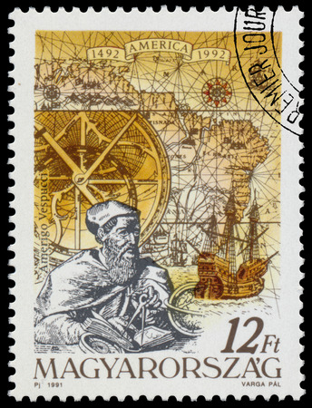 pizarro: HUNGARY - CIRCA 1991: Stamp printed in Hungary from the  issue The 500th Anniversary of the Discovery of America shows Amerigo Vespucci, circa 1991.