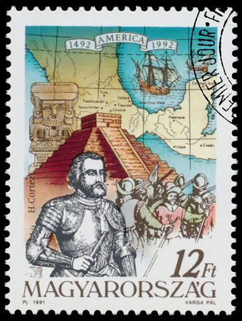 HUNGARY - CIRCA 1991: Stamp printed in Hungary from the  issue The 500th Anniversary of the Discovery of America shows H. Cortez, circa 1991. Editorial