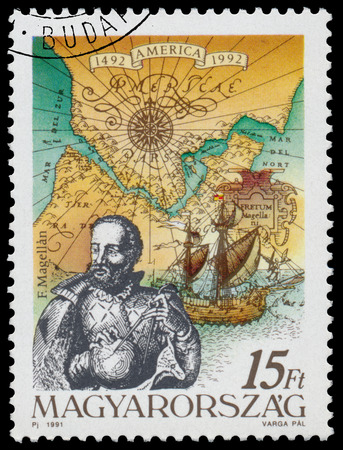pizarro: HUNGARY - CIRCA 1991: Stamp printed in Hungary from the  issue The 500th Anniversary of the Discovery of America shows F. Magellan, circa 1991. Editorial