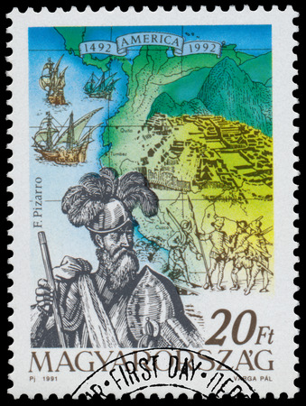 pizarro: HUNGARY - CIRCA 1991: Stamp printed in Hungary from the  issue The 500th Anniversary of the Discovery of America shows F. Pizarro, circa 1991.