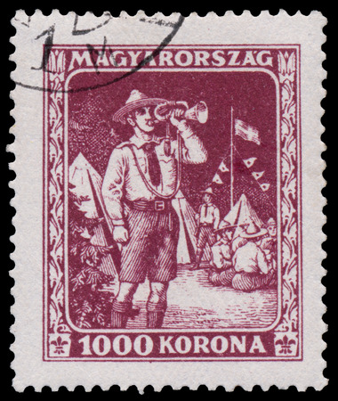 ancient olympic games: HUNGARY - CIRCA 1925: A stamp printed in Hungary shows Scouts from the first hungarian Sport issue, circa 1925 Editorial