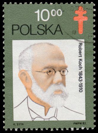bacillus: POLAND - CIRCA 1982: Stamp printed in Poland shows Robert Koch, German physician. He became famous for isolating Bacillus anthracis, circa 1982.