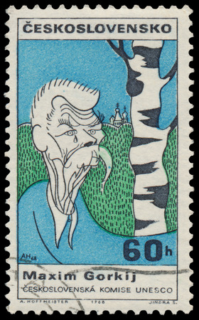 gorky: CZECHOSLOVAKIA - CIRCA 1968: Stamp printed in the Czechoslovakia, shows a caricature Maxim Gorky, circa 1968 Editorial