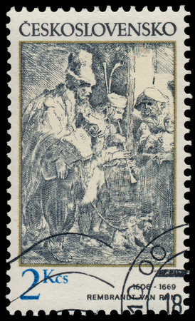 rembrandt: CZECHOSLOVAKIA - CIRCA 1982: Stamp printed in Czechoslovakia, shows musicians in a hostel, by Rembrandt (1606-1669), circa 1982 Editorial