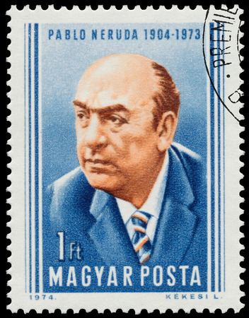 nobel: HUNGARY - CIRCA 1974: Stamp printed in Hungary shows Pablo Neruda Chilean poet and Nobel Prize in literature, circa 1974