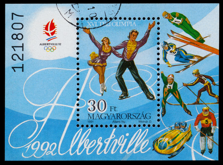 olympic sports: HUNGARY - CIRCA 1991: Stamp printed in Hungary shows Winter sports at the Winter Olympic Games in Albertville in 1992, circa 1991 Editorial
