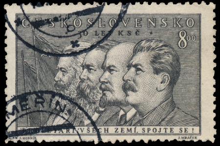 czechoslovakia: CZECHOSLOVAKIA - CIRCA 1951: Stamp printed by Czechoslovakia, shows Marx, Engels, Lenin and Stalin, circa 1951 Editorial