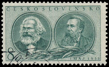 marx: CZECHOSLOVAKIA - CIRCA 1953: Stamp printed by Czechoslovakia, shows Marx and Engels, circa 1953