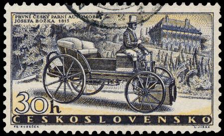 czechoslovakia: CZECHOSLOVAKIA - CIRCA 1958: Stamp printed in Czechoslovakia, shows Bozek?s Steam Car of 1815, circa 1958