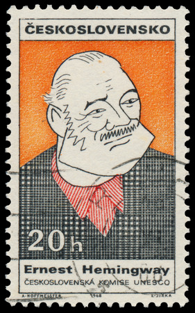 ernest hemingway: CZECHOSLOVAKIA - CIRCA 1968: Stamp printed in the Czechoslovakia shows Ernest Hemingway, American Author and Journalist, circa 1968 Editorial
