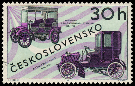 czechoslovakia: CZECHOSLOVAKIA - CIRCA 1969: Stamp printed by Czechoslovakia shows old cars, circa 1969