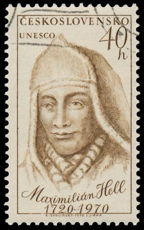 beethoven: CZECHOSLOVAKIA - CIRCA 1970: Stamp printed in Czechoslovakia shows portrait Maximilian Hell, Slovakian Jesuit and astronomer, circa 1970