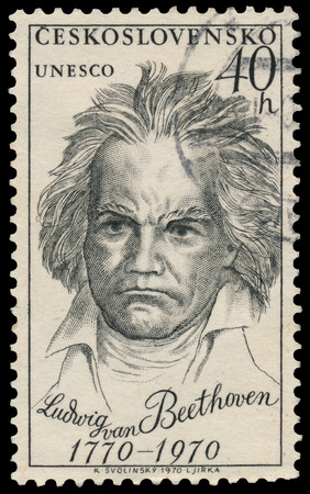 beethoven: CZECHOSLOVAKIA - CIRCA 1970: Stamp printed in Czechoslovakia shows portrait Ludwig van Beethoven, the famous German composer and pianist, circa 1970 Editorial