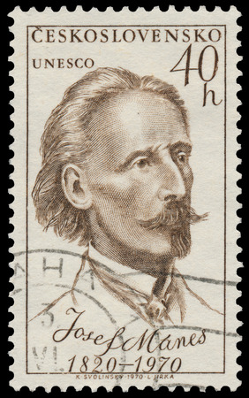 czechoslovakia: CZECHOSLOVAKIA - CIRCA 1970: Stamp printed in Czechoslovakia shows portrait Josef Manes, circa 1970 Editorial