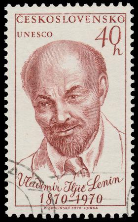 czechoslovakia: CZECHOSLOVAKIA - CIRCA 1970: Stamp printed in Czechoslovakia shows portrait Lenin, Russian Communist leader, circa 1970