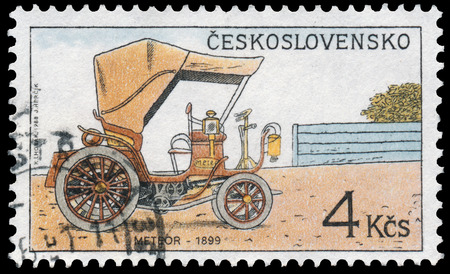 circa: CZECHOSLOVAKIA - CIRCA 1988: Stamp printed in Czechoslovakia from the Historic Motor Cars issue shows Meteor, 1899, circa 1988.
