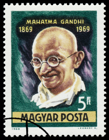 indian postal stamp: HUNGARY - CIRCA 1969: Stamp printed in Hungary shows an image of Mahatma Gandhi commemorative of the centenary of his birthday, circa 1969.