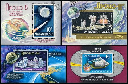 apollo: HUNGARY - CIRCA 1969: Stamp printed in Hungary, shows Apollo 8 with names of astronauts, circa 1969