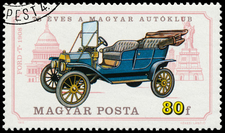 circa: HUNGARY - CIRCA 1975: Stamp printed in Hungary shows retro car Ford T, circa 1975 Editorial