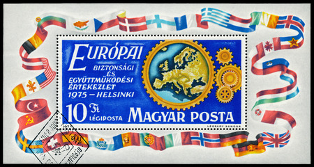 HUNGARY - CIRCA 1975: Stamp printed by Hungary, shows Conference on Cooperation and Security in Europe, Helsinki, circa 1975