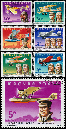 aviators: HUNGARY - CIRCA 1978: Set of stamps printed in Hungary shows famous Aviators and their Airplanes, circa 1978 Editorial