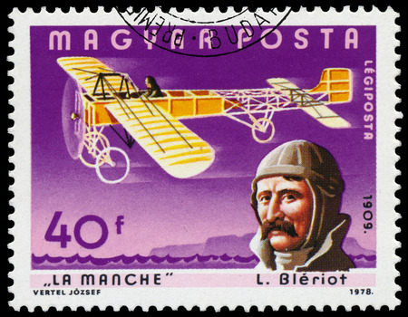 aviators: HUNGARY - CIRCA 1978: Stamp printed in Hungary shows L. Bleriot with his aircraft over La Manche, the same inscription, series \Famous Aviators and their Airplanes\ circa 1978 Editorial