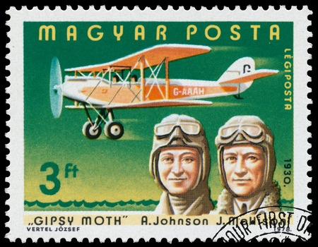 aviators: HUNGARY - CIRCA 1978: Stamp printed in Hungary shows A. Johnson, J. Mollison with Gipsy Moth, the same inscription, series \Famous Aviators and their Airplanes\ circa 1978