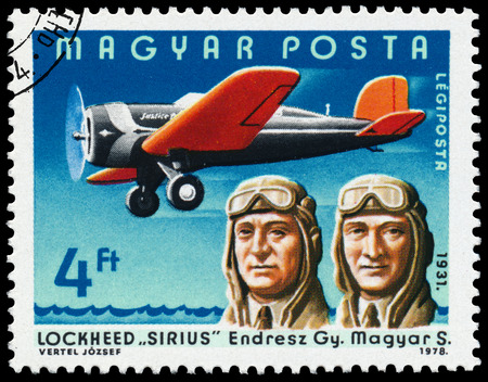 aviators: HUNGARY - CIRCA 1978: Stamp printed in Hungary shows Endresz Gy., Magyar S. with Lockheed Sirius, the same inscription, series \\\Famous Aviators and their Airplanes\\\ circa 1978