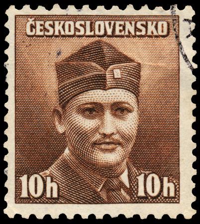 czechoslovakia: CZECHOSLOVAKIA - CIRCA 1945: stamp printed by Czechoslovakia, shows soldier, circa 1945