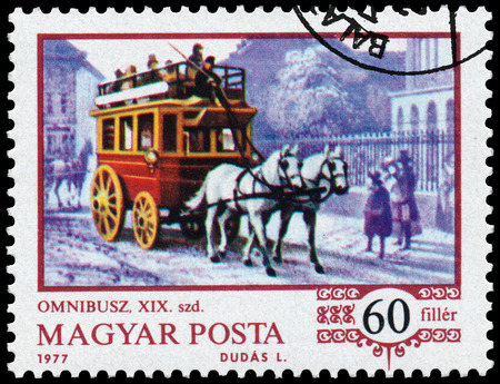 omnibus: HUNGARY - CIRCA 1977: Stamp printed in the Hungary shows horse-drawn omnibus, from the series History of the hungarian coach, circa 1977