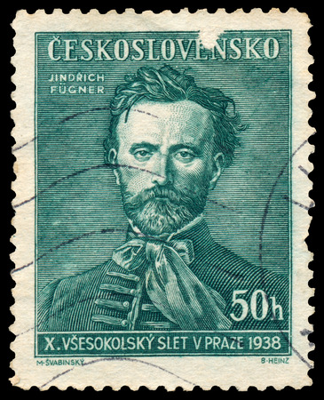 czechoslovakia: CZECHOSLOVAKIA - CIRCA 1938: Stamp printed in Czechoslovakia shows Jindrich Fugner, Co-Founder of Sokol Movement, circa 1938