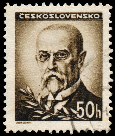czechoslovakia: CZECHOSLOVAKIA - CIRCA 1945: stamp printed by Czechoslovakia, shows Masaryk, circa 1945