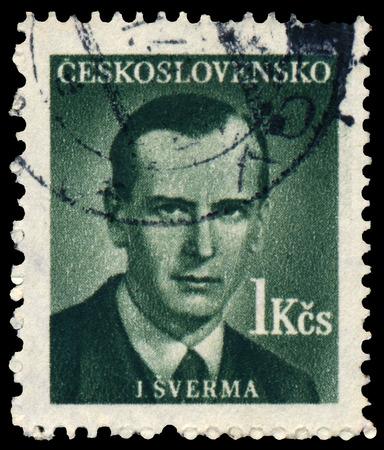 activist: CZECHOSLOVAKIA - CIRCA 1949: Stamp printed in Ceskoslovensko shows political activist Jan Sverma (1901-1944), circa 1949