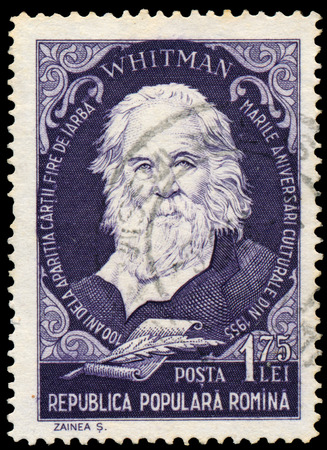 humanist: ROMANIA - CIRCA 1955: Stamp printed in Romania, shows Walt Whitman, circa 1955