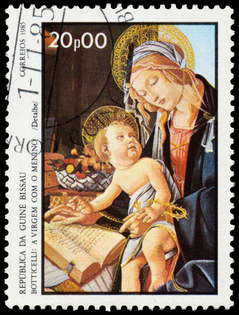 philatelist: GUINEA BISSAU - CIRCA 1985: Stamp printed in Guinea-Bissau shows Virgin and Child by Botticelli, circa 1985