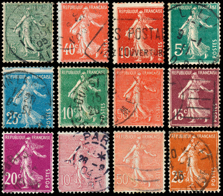 philatelic: FRANCE - CIRCA 1906: Set of stamps printed by France shows sowing, circa 1906 Stock Photo