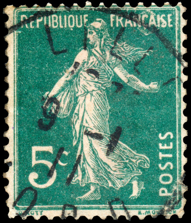 FRANCE - CIRCA 1906: stamp printed by France shows sowing, circa 1906 photo