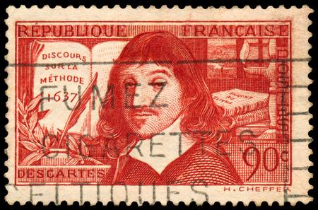 discourse: FRANCE - CIRCA 1937: Stamp printed in France shows an image of Rene Descartes, circa 1937. Stock Photo