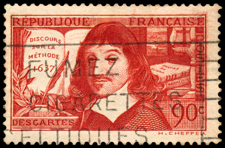 FRANCE - CIRCA 1937: Stamp printed in France shows an image of Rene Descartes, circa 1937. Фото со стока