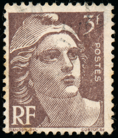 marianne: FRANCE - CIRCA 1945: Stamp printed in France shows Marianne the national emblem of France, circa 1945