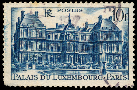 palais: FRANCE - CIRCA 1946: Stamp printed in France shows view of The Luxembourg Palace in Paris (Palais Du Luxembourg), circa 1946. Editorial