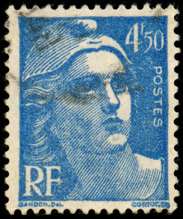 marianne: FRANCE - CIRCA 1947: Stamp printed in France shows Marianne the national emblem of France, circa 1947